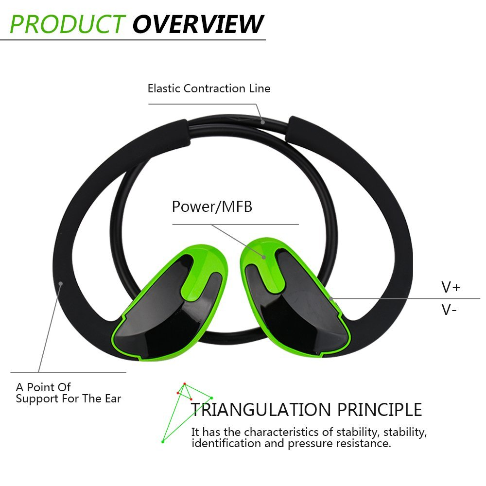 Bluetooth Headphones for Running Workout Exercise, Noise Cancelling Earphones for Celltphones, V4.1 Sweatproof Wireless Earbuds