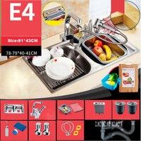 Новое поступление бытовой 304 Нержавеющаясталь утолщение Кухня раковины высококачественный двойной раковина, с тонкой Медь кран E4 81*43 см