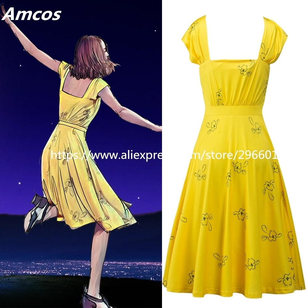 Movie La La Land Mia Backless Dress Cosplay Yellow Lalaland Women Summer Costumes Halloween Party Props Emma Stone Long Dress Dress Cosplay Costume Halloweencosplay Dress Aliexpress