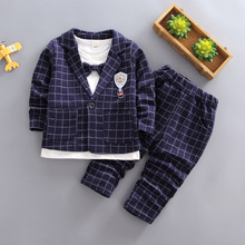 Baby Boys Clothing Sets Toddler Children Clothes 3pcs Suit Plaid Coats +T-Shirt + Long Pants Infant Kids Clothing Sets For 9M-5T 2017 spring newborn baby boy clothes bow lie kids suit clothing sets 3pcs children bebe solid cloth outfit sport coats boys