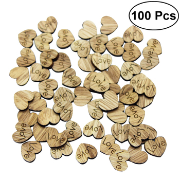pack of 100pcs wooden love heart shape wedding decoration for