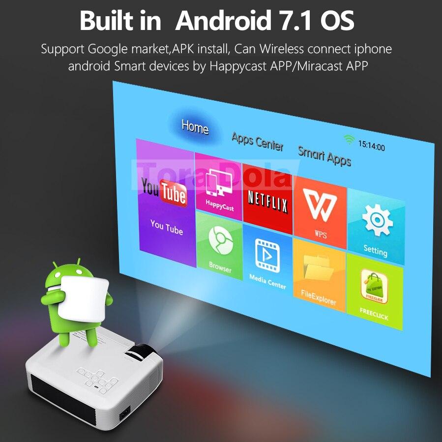 TORA dole projecteur LED Android 7.1OS. Meilleur MINI projecteur HD. 1280x720 résolution Home Cinema, 1080P Beamer WIFI TD01 - 4