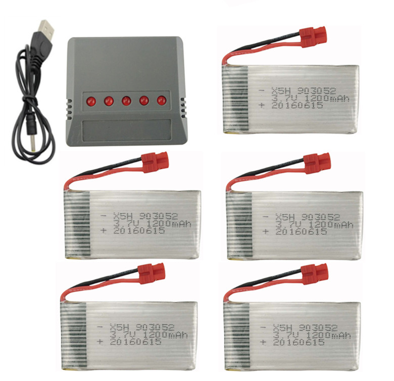 BLL SYMA X5HW X5HC remote control aircraft parts Quadcopter Part 5PCS 3.7V 1200mah battery and a 5-in-1 Charger Kit 3pcs battery and european regulation charger with 1 cable 3 line for mjx b3 helicopter 7 4v 1800mah 25c aircraft parts