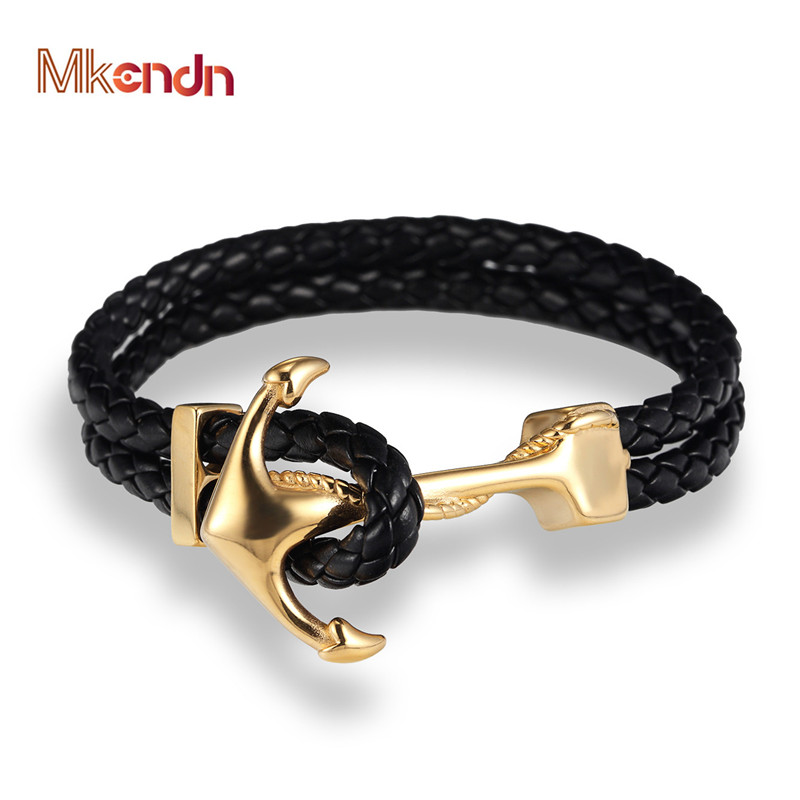 MKENDN Genuine Handmade Braided Vintage Leather Anchor Bracelets Men Stainless Steel Punk