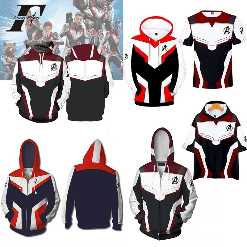 Marvel Avengers Endgame Quantum Realm Cosplay Costume 3D Hoodies Men Women Hooded Avengers Zipper End Game Sweatshirt Jacket(China)