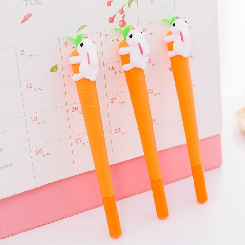 2pcs/set Korean Stationery Creative Carrot Rabbit Gel Pens Kawaii Pen 0.5mm Gel Ink Pen 4pcs set rabbit gel pens set kawaii school supplies office stationary photo album kawaii pens stationery gel ink pen