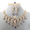 Elegant Tassel Nigerian Necklace Earrings For Women Wedding African Beads Jewelry Set Cz  Crystal Ring Bridal Gift
