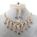 Elegante Borla Collar Pendientes Para Las Mujeres de La Boda Nigeriano Beads Africanos Joyería Conjunto Cristal de La Cz Anillo Regalo Nupcial
