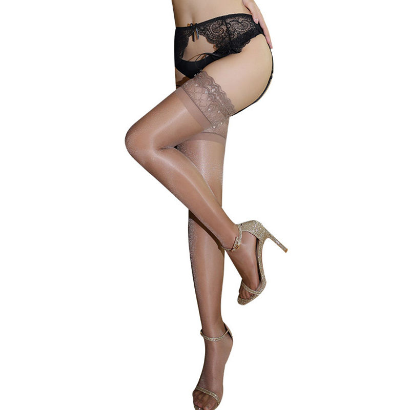 Oil Shiny Wide Lace Floral Top Nylon Stockings Transparent Sexy Lingerie For Women Hold Up Silicone Thigh High Stockings Hosiery