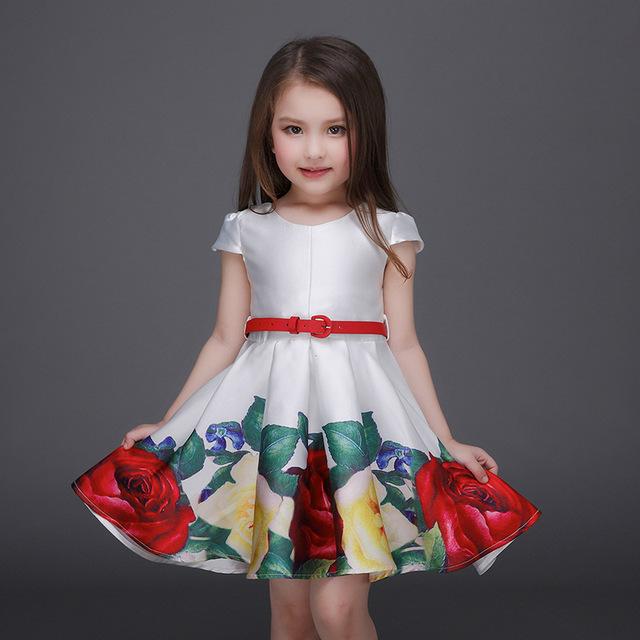 Venda quente de Natal Impressão Floral Meninas Vestido de 7 Anos de Idade princesa Vestido de Verão Roupa Do Desgaste Do Partido Vestido Com Cinto Rosa branco