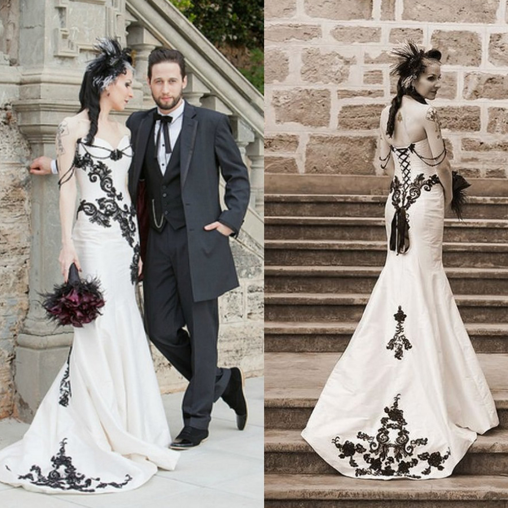 Gothic wedding shop - Rf2 Lace Mermaid Gothic Wedding Dress Wedding Gowns Black White