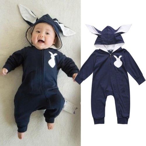 Newborn Toddler Kids Baby Boys Girls Clothes 3D Ear Hooded Long Sleeve Romper Jumpsuit bebek giyim Outfits ClothingSet