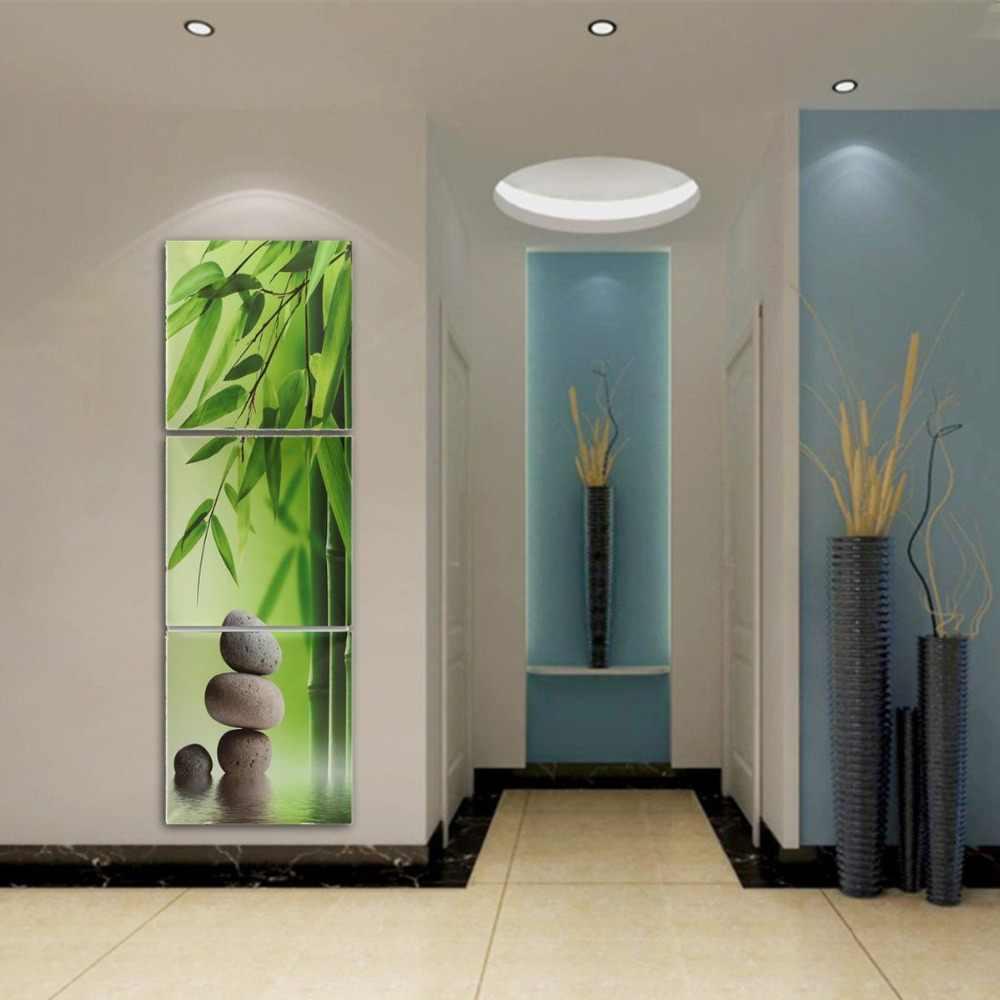 3 أجزاء الأخضر الخيزران ستون الحديثة جدار ديكور المنزل قماش صورة الفن hd طباعة الرسم على قماش الفنية ht061
