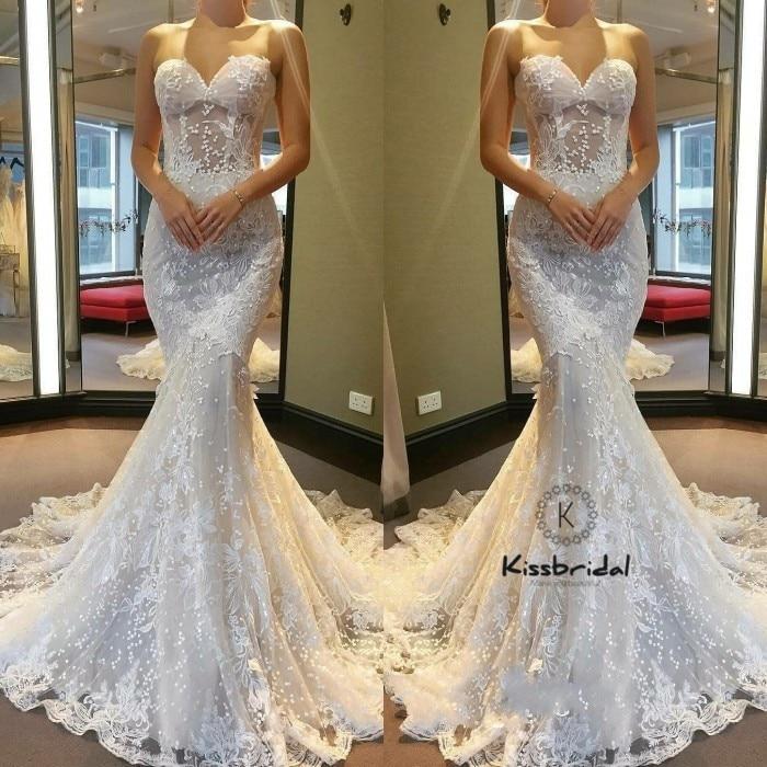 74c1c75d New Vintage Lace Wedding Dresses 2018 Sweetheart Neckline Romantic Mermaid  Bride Wedding Gowns Corset Back