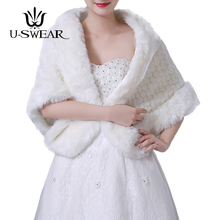 U-SWEAR 2018 Hot Sale Warm Faux Fur Women Wedding Jackets White Ivory Thick Female Accessories Bridal Wraps Shawls