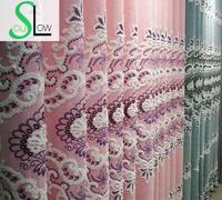 Slow Soul Pink Blue New High End Living Room Bedroom Jacquard Curtain Europe Floral Tulle Curtains
