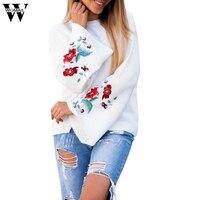 스웨터 2017 2017 겨울 새로운 니트 스웨터 자수 꽃 인쇄 스피커 소매 최고 OC13
