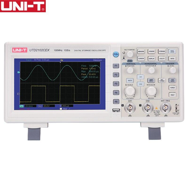 UNI T UTD2102CEX Digital Storage Oscilloscope 1GSa 100MHz Bandwidth 2 Channels 7 TFT Display USB OTG