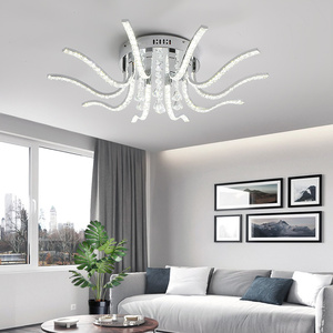 Image 5 - Neo brilho acabamento cromado cristal rc moderno led luzes de teto para sala estar quarto sutdy lâmpada do teto pode ser escurecido