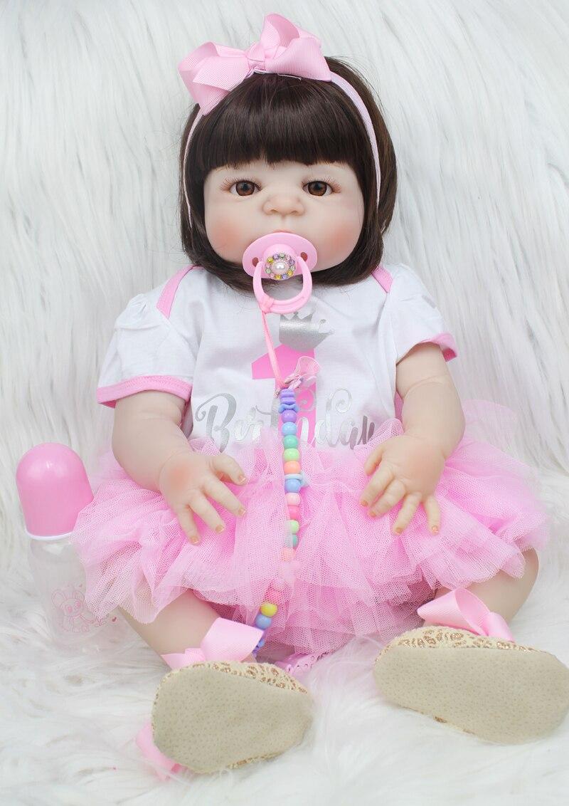 55 cm de silicona completa Reborn Baby Doll juguetes como Real recién nacido princesa niño niñas bebés muñeca cumpleaños regalo niño baño juguete