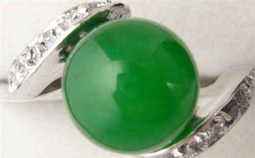 ร้อนขาย>@@ A> >>> 18KGPทองคำขาวชุบสีเขียวหยกผู้หญิงแหวนAAAขนาด7.5 #-8 # #