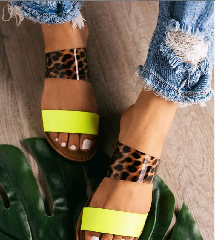 2019 Summer Women Sandals Leopard Print Slip-on Shallow Flat Jelly Shoes Ladies Outdoor Holiday Slipper 9046