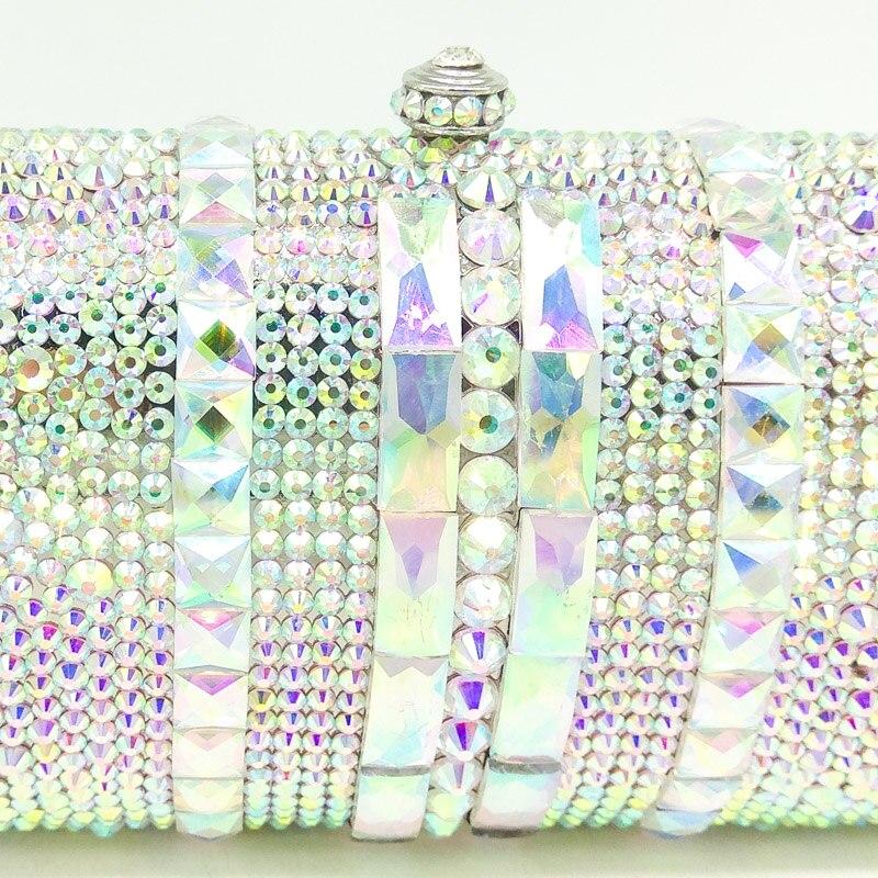 Boutique De FGG luxe femmes argent cristal AB sac De soirée en métal Minaudiere embrayage sac à main De mariage fête Cocktail diamant sac à main-in Sacs de soirée from Baggages et sacs    2