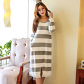 2017 Wool Long Nightgowns Fleece Striped Sleep Dress Long Sleeve Lace Woman Sleepwear Lady Super Soft Sexy Womans Night Dress