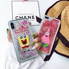 Cell case For iPhone XS XR MAX X 6 6S 7 8 Plus Cute Cartoon SpongeBob SquarePants Liquid quicksand Soft TPU Mobile Phone Case