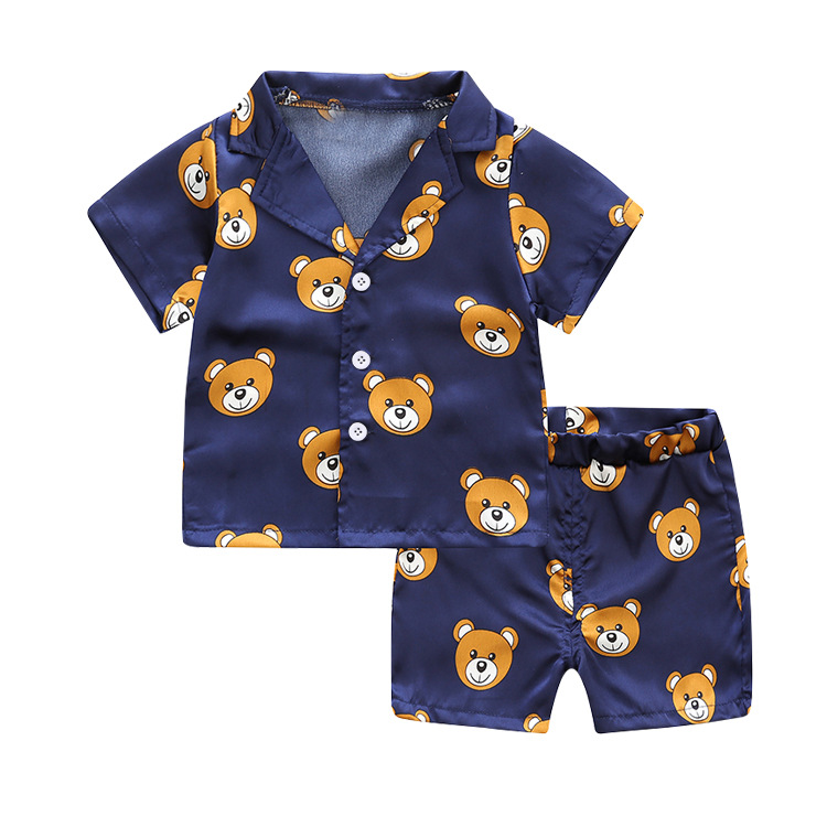 kids summer pajamas summer girls clothes set cute bear print children clothing 2018 gir clothes tshirt+shorts 2pcs boys clothes 1