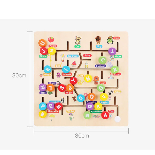 Baby Wooden Puzzle Toys for Children New Jigsaw Digital Letters Matching Cognitive Maze Board Kids Learning Educational Toy