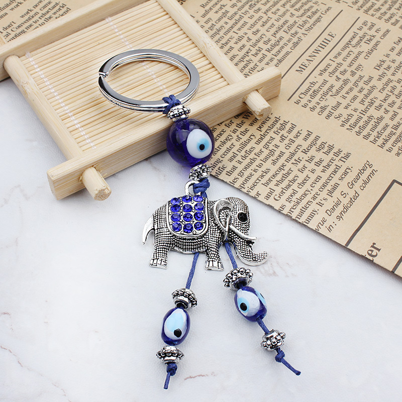 Good Wishes Elephant Keychain Lucky Turkish Keyring Evil Eye Bead Jewelry Fashion Keychain