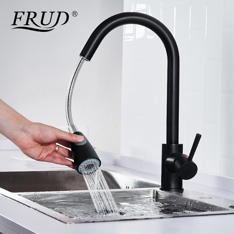 Frud Single Handle Luxury Pull Out Kitchen Tap Retro Design Hot Cold Water Mixer Sink Tap