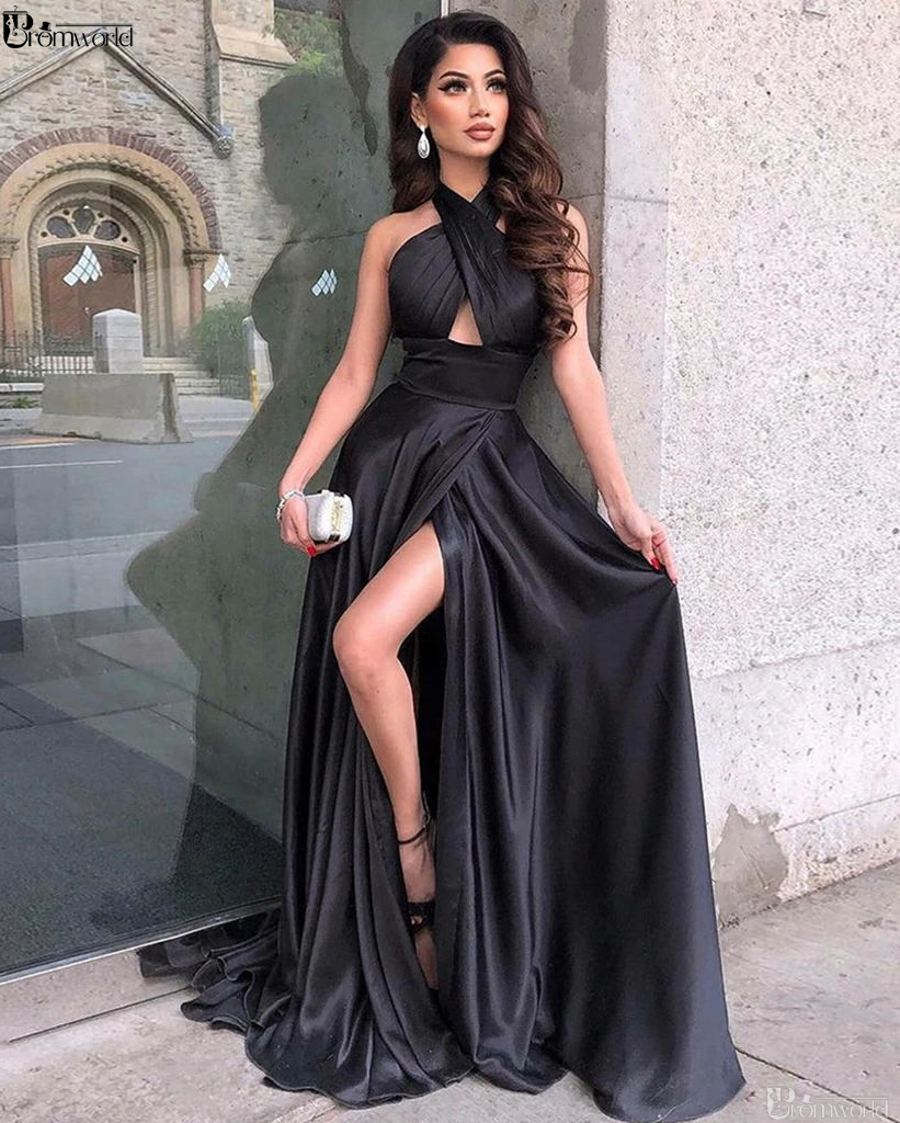 Unique Black Halter Neck Satin Long Prom   Dress   with High Slit Sexy Formal   Evening     Dresses   2019 robe soiree Dubai   Evening   Gowns