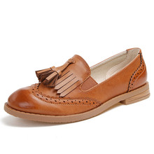 Flats British Oxford Shoes for Women Leather Brogues Women Oxfords with Tassels Platform Fringe Flats Shoes Woman XWB0007-5