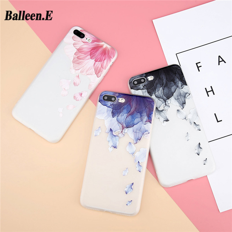 Balleen.E Case For iPhone X 8 7 6 6s Plus 3D Relief Flowers Watercolor Floral Petals UltraSlim Soft TPU Cover Cases For iPhone 8