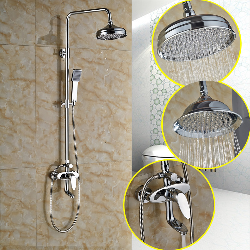 Brass Chrome Finish 8 Rainfall Shower Head Dual Types Wall Mounted Bathroom Shower Water Taps