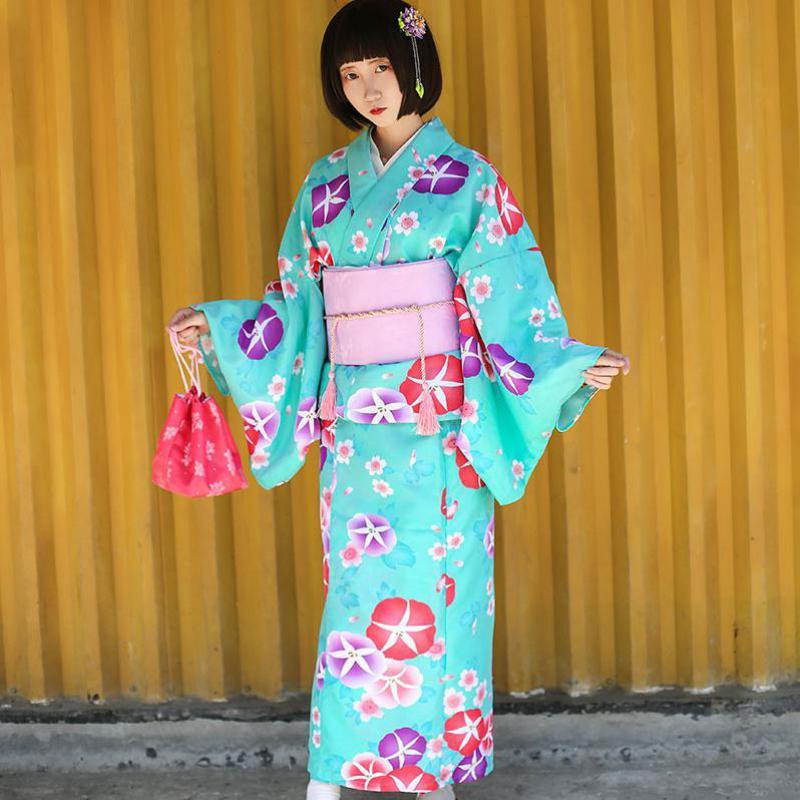 Green Printed Japanese Lady Kimono Yukata Elegant Long Robe Formal Evening Dress Vintage 9 Pieces Set Girl Cosplay Clothes