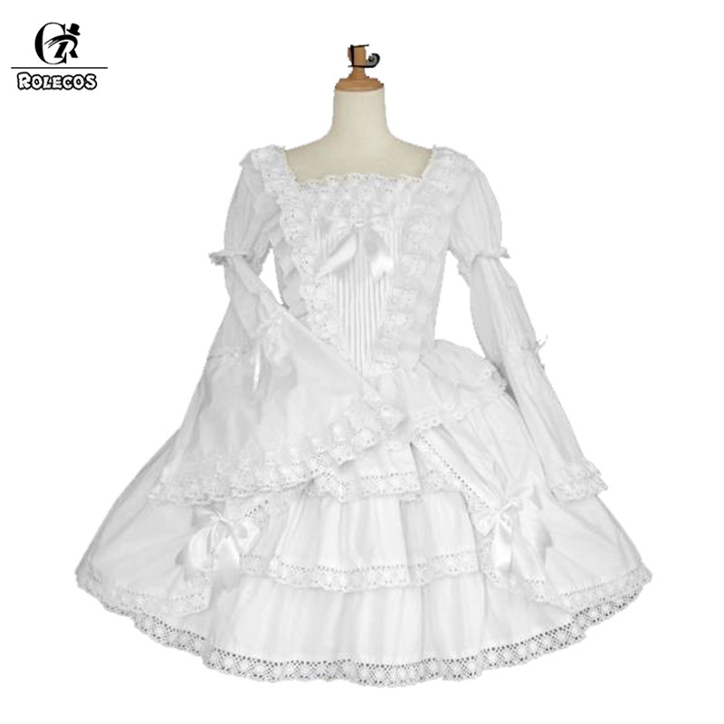 ROLECOS Solid White Lolita Dress For Girls Vintage Black Gothic Lolita Dress Long Sleeve Party Dress Medieval Victoria Dress