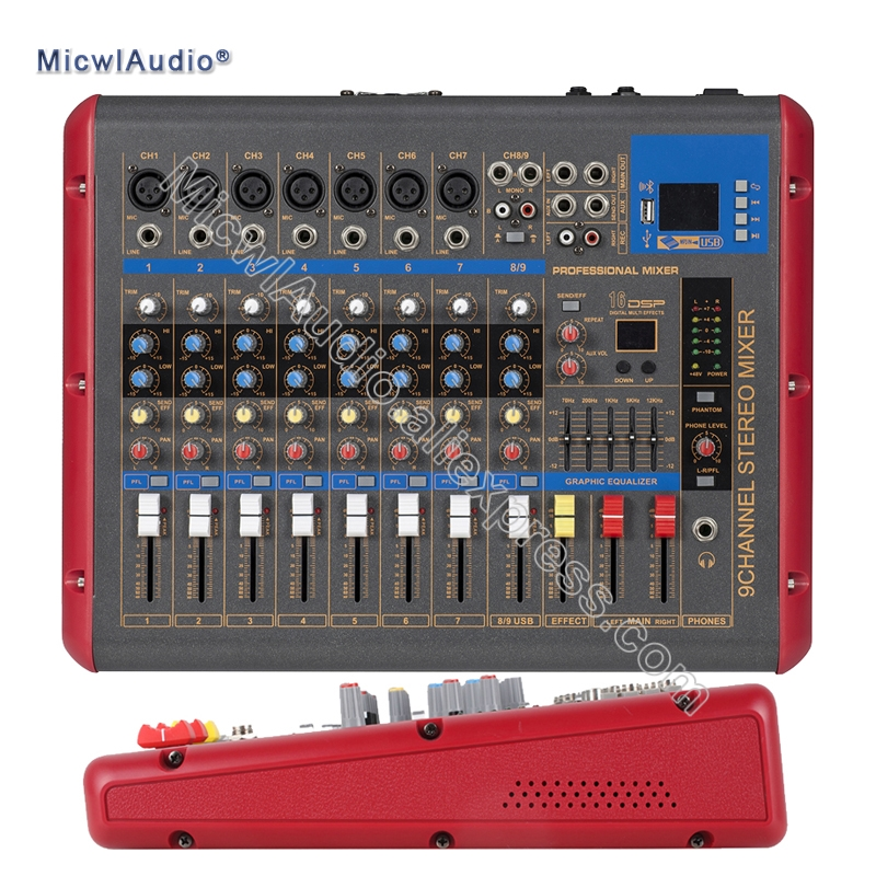 9 Channel Console Digital Mixer for DJ Recording Studio Stage Mixing with USB DSP Bluetooth Microphone staraudio pro 4 channel 2000w live studio dj stage amplifier powered mixer with mp3 bluetooth usb sd 16 dsp smx 4000b