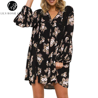 Lily Rosie Girl Black Floral Print Mini Dress V Neck Summer Boho Beach Women Dressses Full