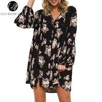Lily Rosie Girl Black Floral Print Mini Dress V Neck Summer Boho Beach Women Dressses Full