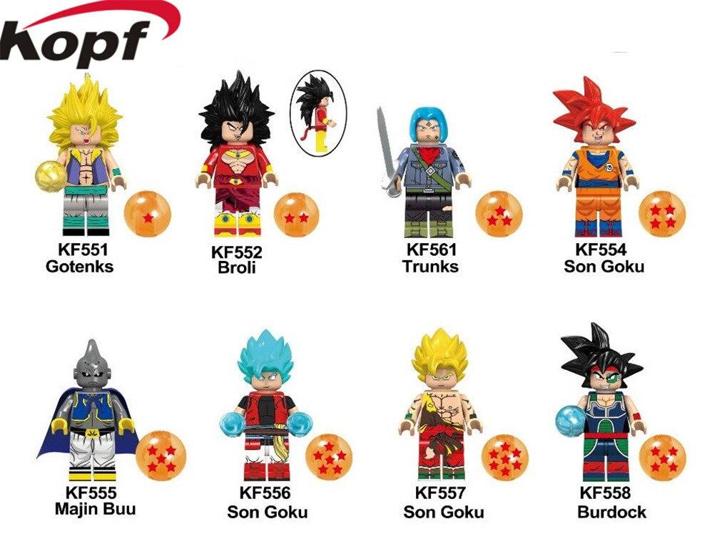KF6042 Buiding Blocks Z Dragon Ball Figures Majin Buu Gotenks Broli Son Goku Bricks Action Learning Dolls For Children Gift Toys