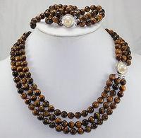 New Design Natural Tiger Eye Stone 17 Brecelet & 20 Necklace Jewelry Set 5.23