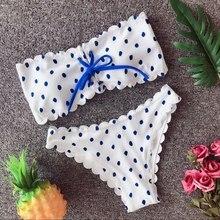 Для женщин плавание костюм в горошек бандо Микро Бикини Push Up Одежда для бандаж голые плечи купальники, бикини раздельный ванный