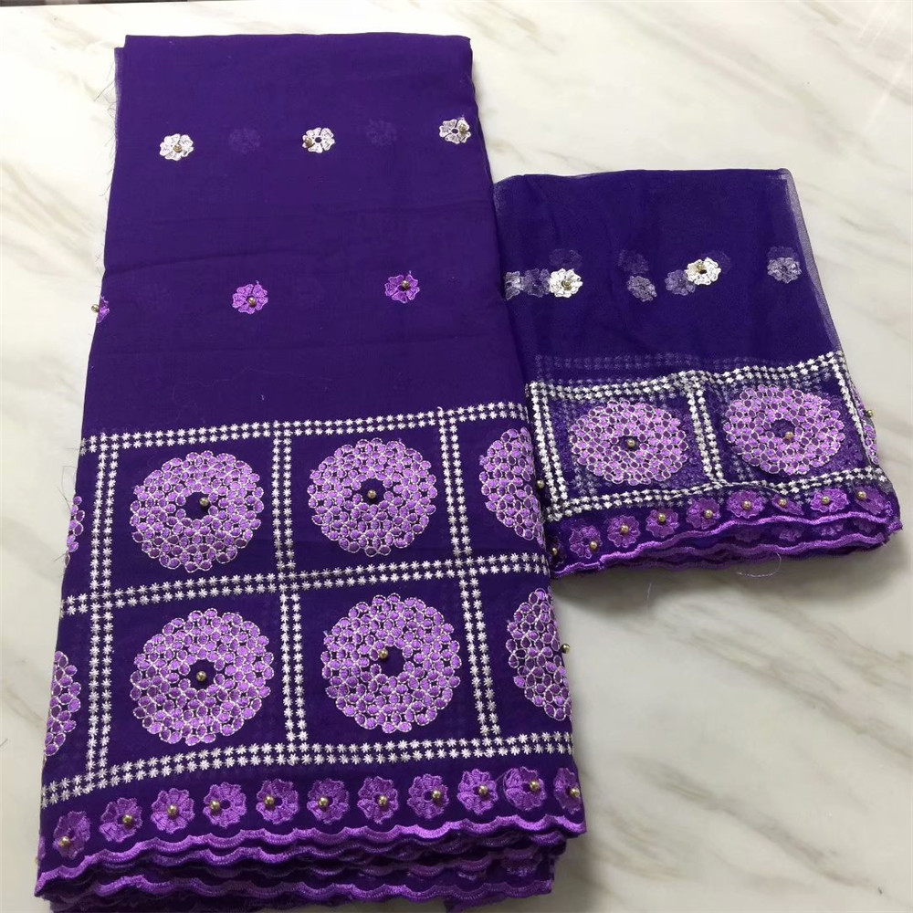 Best Selling Purple Embroidered Beaded African Bazin Riche Fabric With Blouse X537-1 ...