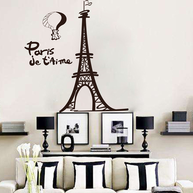 Eiffel Tower Wall Sticker Living Room Pairs French City Tower Wall Decal  Kids Room Landscape Children