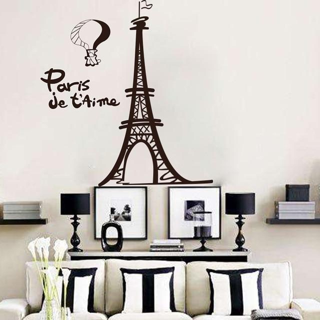 Eiffel Tower Wall Sticker Living Room Pairs French City Tower Wall - Wall decals eiffel tower
