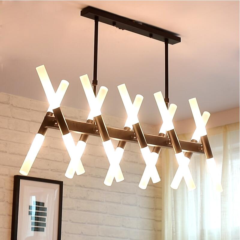 Lampes suspendues de salon Post-moderne noir/or nordique chambre lampe à LED lampes suspendues de Bar de Restaurant créatives simples