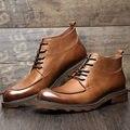 Mens TOP de Couro Genuíno Lace Up Martin Botas de Segurança do Trabalho do Homem de Negócios Sapatos Formal Vestido Retro High-top Oxford